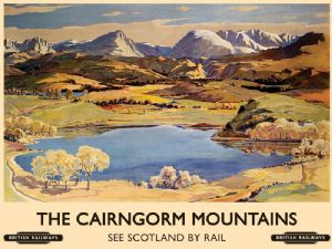 The Cairngorm Mountains (old rail ad.) small steel sign 200mm x 150mm (og)